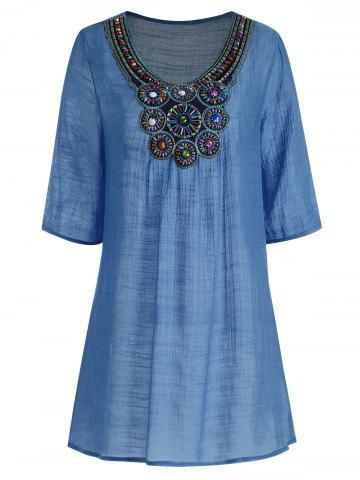 Beaded Plus Size Tunic Top - Blue - 2xl