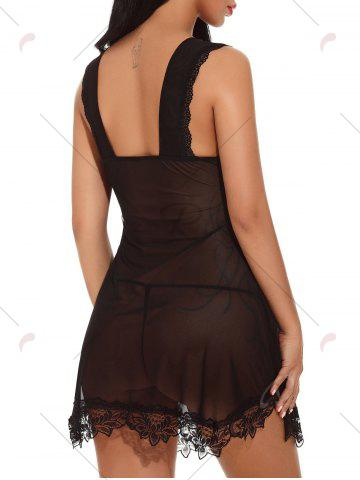 Latest Plunging Neck See-through Mesh Babydoll - S BLACK Mobile