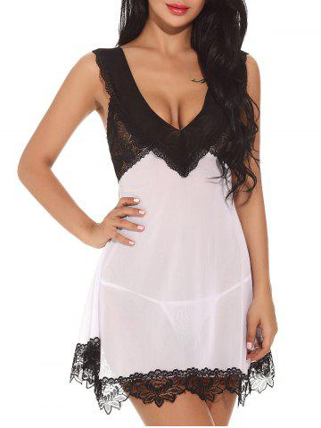 New Plunging Neck See-through Mesh Babydoll - 2XL WHITE Mobile
