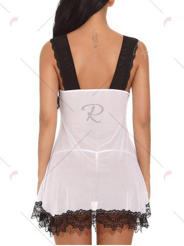 Outfit Plunging Neck See-through Mesh Babydoll - 2XL WHITE Mobile