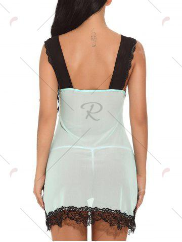 Trendy Plunging Neck See-through Mesh Babydoll - 2XL GREEN Mobile