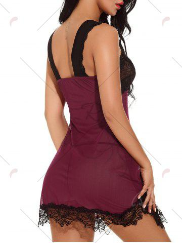 Outfits Plunging Neck See-through Mesh Babydoll - 2XL WINE RED Mobile