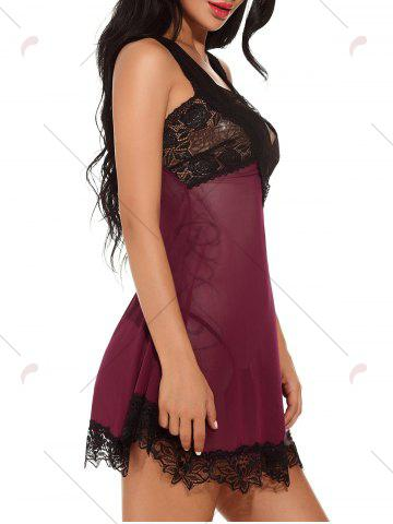 Discount Plunging Neck See-through Mesh Babydoll - 2XL WINE RED Mobile