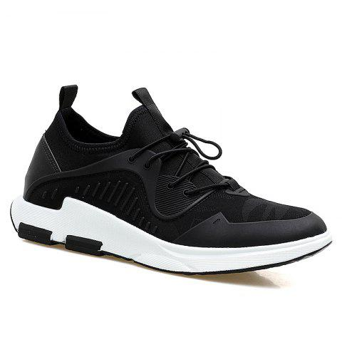 Breathable Stretch Fabric Casual Shoes - Black - 43
