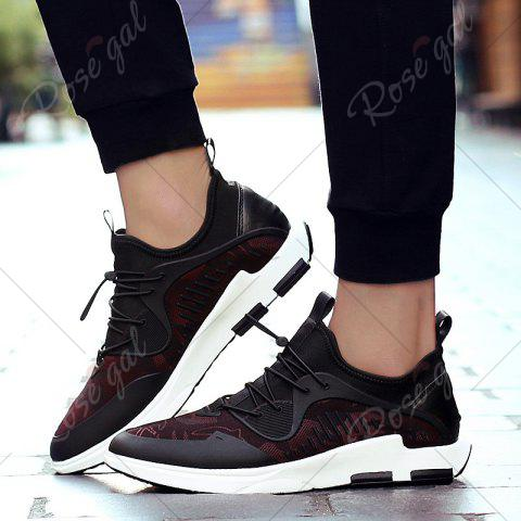 New Breathable Stretch Fabric Casual Shoes - 43 BLACK AND RED Mobile