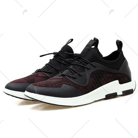 Best Breathable Stretch Fabric Casual Shoes - 43 BLACK AND RED Mobile