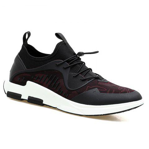 Breathable Stretch Fabric Casual Shoes - Black And Red - 40