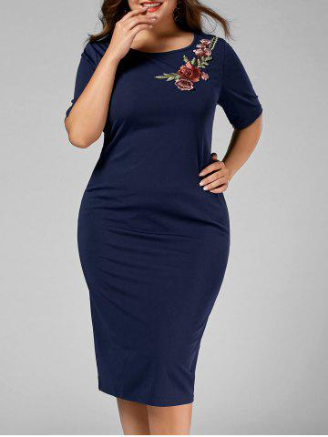 Plus Size Flower Applique Midi Work Dress - Deep Blue - 4xl