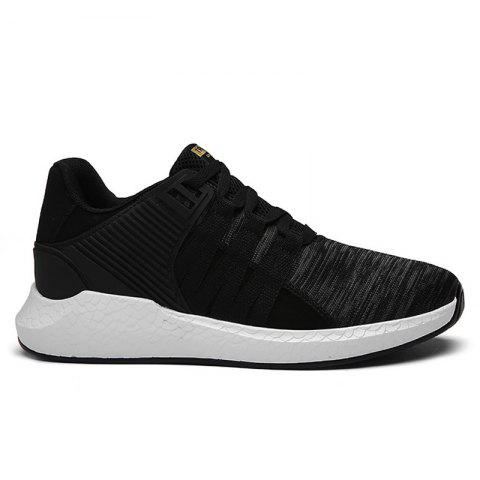New Breathable Pinstripe Athletic Shoes BLACK 40