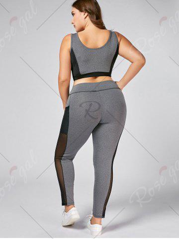 Discount Plus Size Wirefree Yoga Bra and Mesh Panel Leggings - XL GRAY Mobile