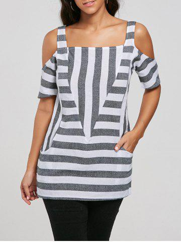 Store Cold Shoulder Pockets Striped Top - XL GRAY Mobile