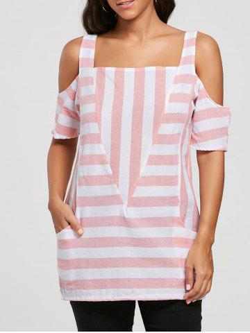 Outfits Cold Shoulder Pockets Striped Top PINK 2XL