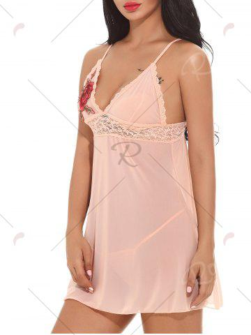 Store Applique Mesh See-through Babydoll - XL PINK Mobile