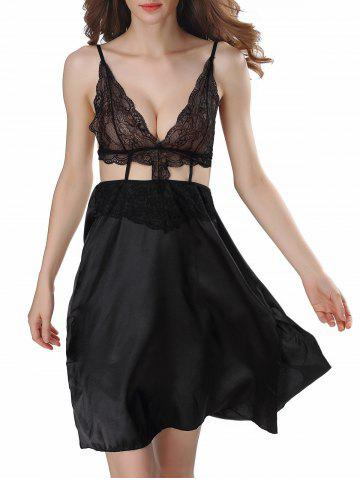 Cut Out Backless Satin Cami Dress - Black - 2xl