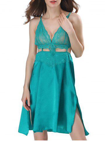Cut Out Backless Satin Cami Dress - Lake Blue - S