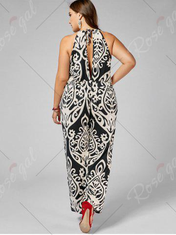 Shop Plus Size High Waisted Printed Jumpsuit - XL MULTI Mobile