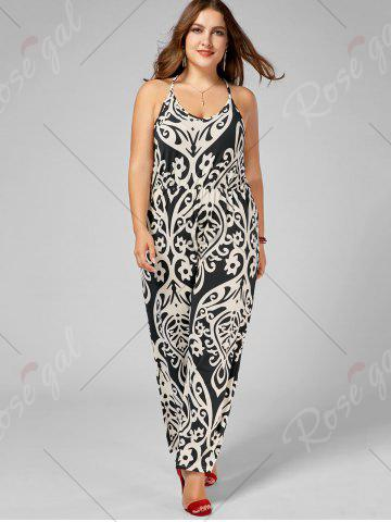 Discount Plus Size High Waisted Printed Jumpsuit - XL MULTI Mobile