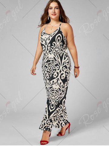 Fancy Plus Size High Waisted Printed Jumpsuit - XL MULTI Mobile