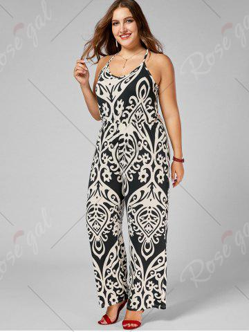 Affordable Plus Size High Waisted Printed Jumpsuit - XL MULTI Mobile