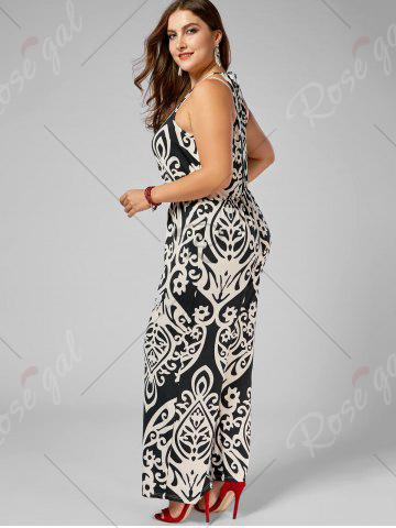Store Plus Size High Waisted Printed Jumpsuit - XL MULTI Mobile