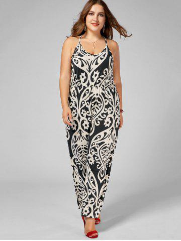 Store Plus Size High Waisted Printed Jumpsuit - 2XL MULTI Mobile