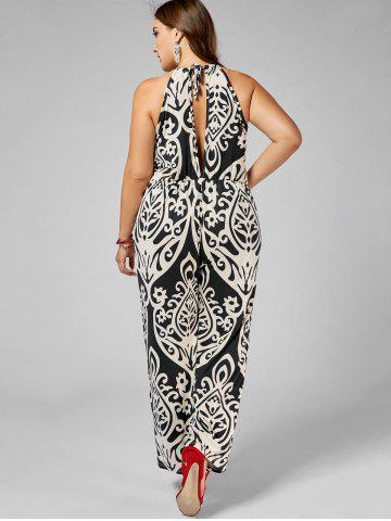 Discount Plus Size High Waisted Printed Jumpsuit - 2XL MULTI Mobile