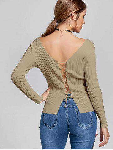 Ribbed Lace Up V Neck Knit Top - Khaki - One Size(fit Size Xs To M)