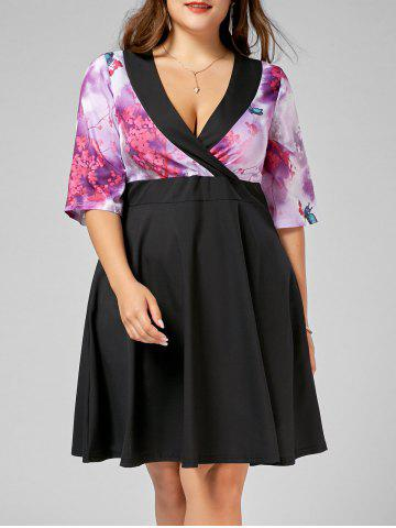 A Line Plus Butterfly Floral Size Homecoming Dress - Black - 3xl