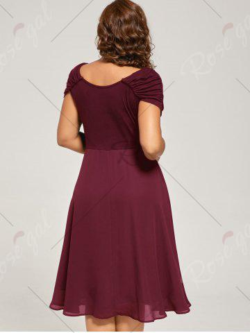Best Plus Size Cap Sleeve Chiffon Ruched Dress - 2XL WINE RED Mobile