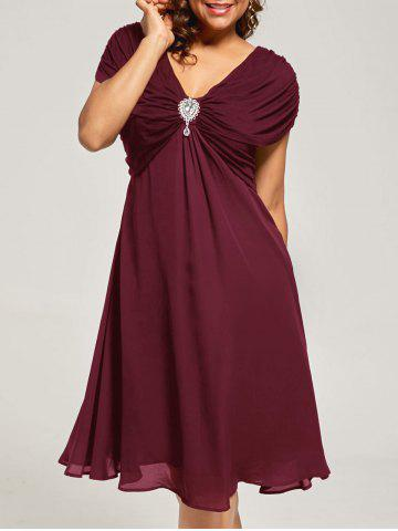 Discount Plus Size Cap Sleeve Chiffon Ruched Dress WINE RED 5XL