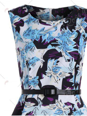Outfit High Waist Print A Line Dress - S BLUE Mobile