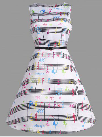 Music Note Print Party Swing Dress - Colorful - S