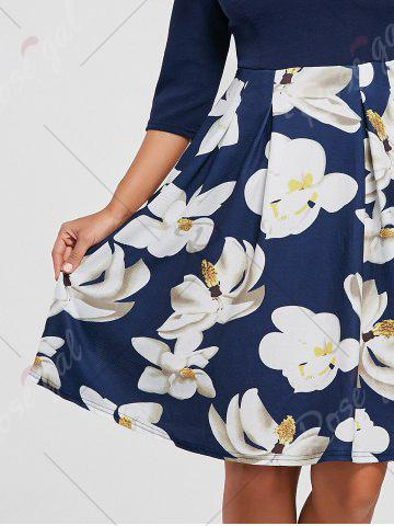 Outfits Floral Print Dress with Pockets - XL PURPLISH BLUE Mobile