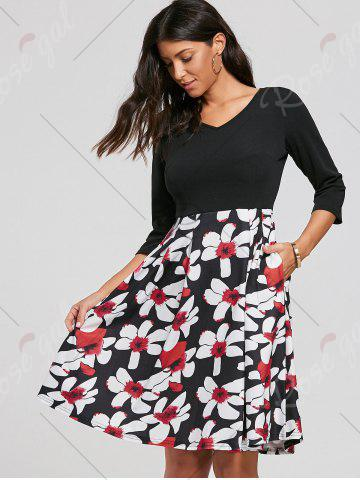 Outfit Floral Print Dress with Pockets - XL BLACK Mobile