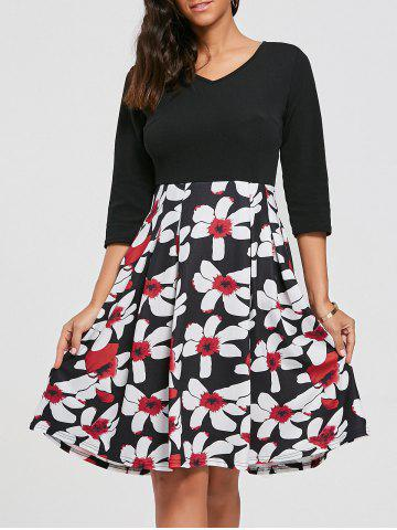 Best Floral Print Dress with Pockets - XL BLACK Mobile