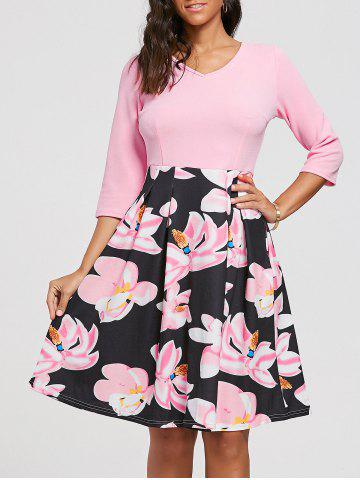 Affordable Floral Print Dress with Pockets - S PINK Mobile