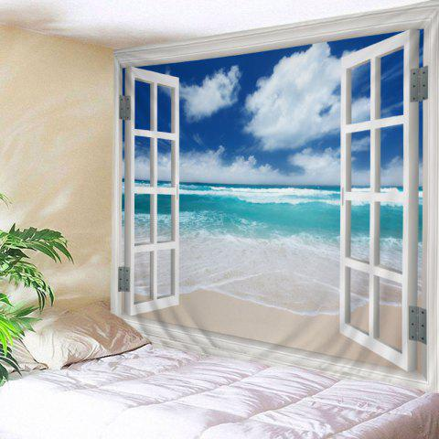 Affordable Window Beach Print Tapestry Wall Hanging Art Decoration LAKE BLUE W79 INCH * L71 INCH