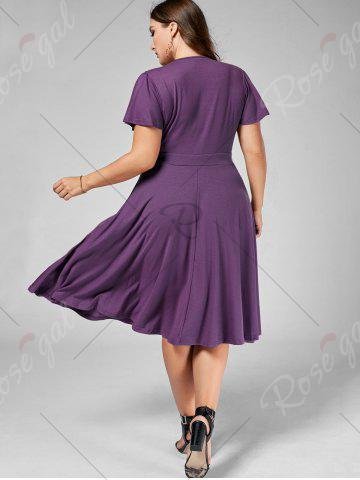 Shops Plus Size V Neck Belted Midi Dress - 7XL PURPLE Mobile