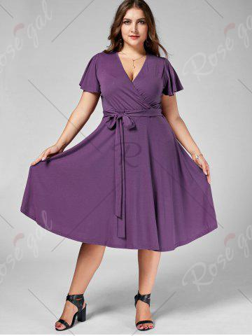 Discount Plus Size V Neck Belted Midi Dress - 7XL PURPLE Mobile