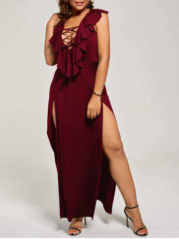 Outfits Plus Size Flounce Lace Up Maxi High Slit Dress WINE RED 2XL