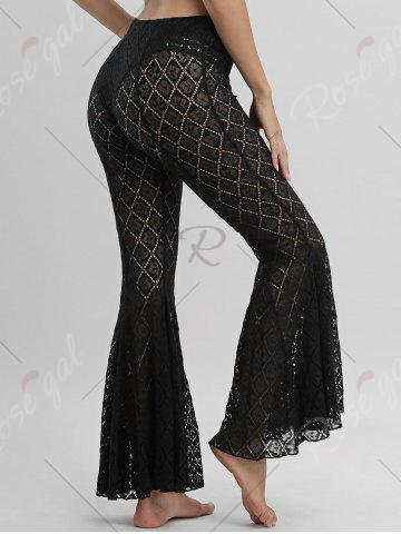 Fancy Flare Lace Cover Up Pants - S BLACK Mobile