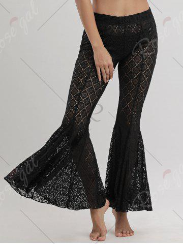 Cheap Flare Lace Cover Up Pants - S BLACK Mobile