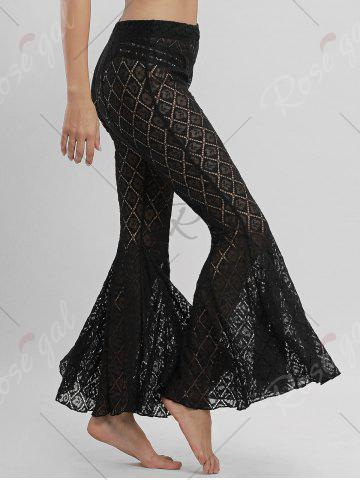 Sale Flare Lace Cover Up Pants - S BLACK Mobile