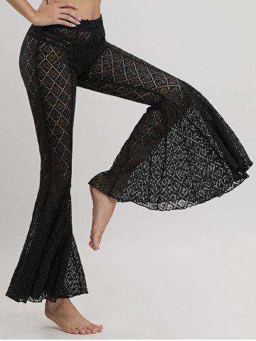 Fancy Flare Lace Cover Up Pants - M BLACK Mobile