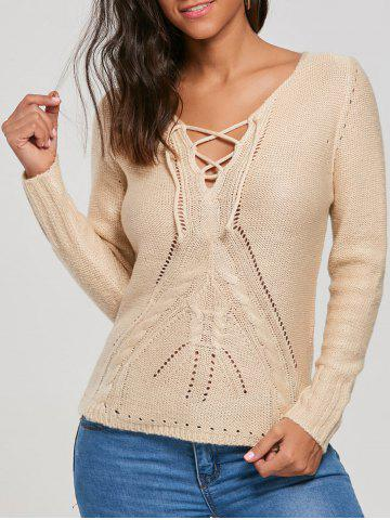 Knit Hollow Out Lace Up Sweater - Beige - Xl