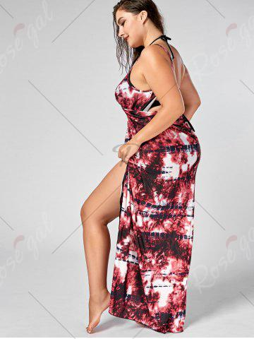 Online Tie-Dye Plus Size Wrap Cover Up Dress - XL RED Mobile