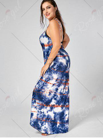 New Tie-Dye Plus Size Wrap Cover Up Dress - 5XL BLUE Mobile