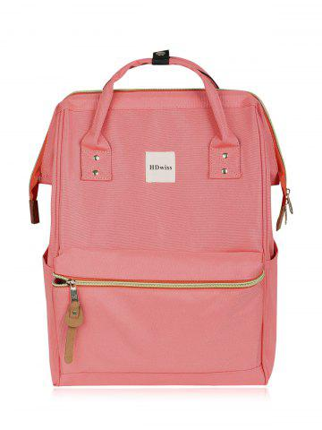 Affordable Canvas Top Handle Travel Backpack - PINK  Mobile