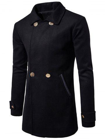 Best Double Breasted Wool Blend Coat - M BLACK Mobile