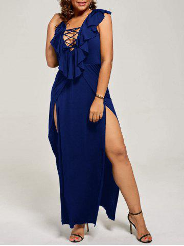 Affordable Plus Size Flounce Lace Up Maxi High Slit Dress